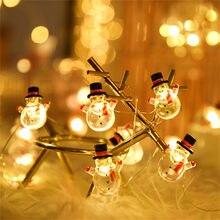 Led flocos de neve boneco de neve levou luzes de fadas string guirlanda de natal papai noel decoraes luzes de para festa em casa