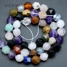 Faceted Mixed Lapis Lazuli Amethysts Natural Gem Beads For Jewelry Making 6/8/10mm Spacer Loose Beads Diy Bracelet Necklace 15''