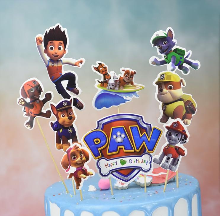 Pat' patrouille fête d'anniversaire décoration chiot patrouille gâteau carte fruits Plug-in fête d'anniversaire fournitures pat' patrouille jouets pour enfants