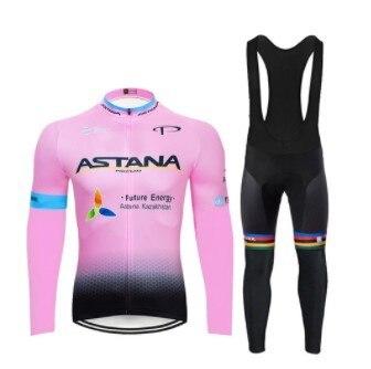 2020 astana team 2 primavera verão camisa de ciclismo dos homens manga longa bicicleta roupas com bib calças ropa ciclismo 4