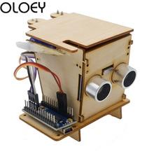 Electronics Kit programming education robot Smart Trash Kids boy DIV Wooden Experimental supports Robotics Nano For Project