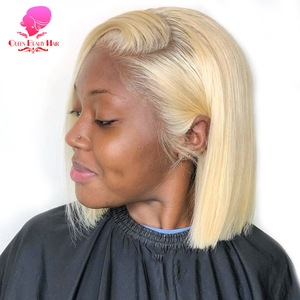 Image 1 - Queen 13x1 613 Blonde Brazilian Straight Human Hair Bob Wigs 6   16 Inch Remy Short Ombre Bob Lace Front Wigs for Black Women