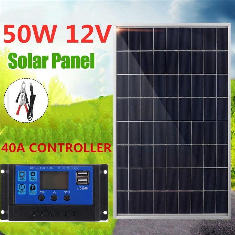 Монокристаллическая солнечная панель 50 Вт USB 12 В + контроллер зарядного устройства 40 А для аккумулятора, зарядное устройство для сотового те...