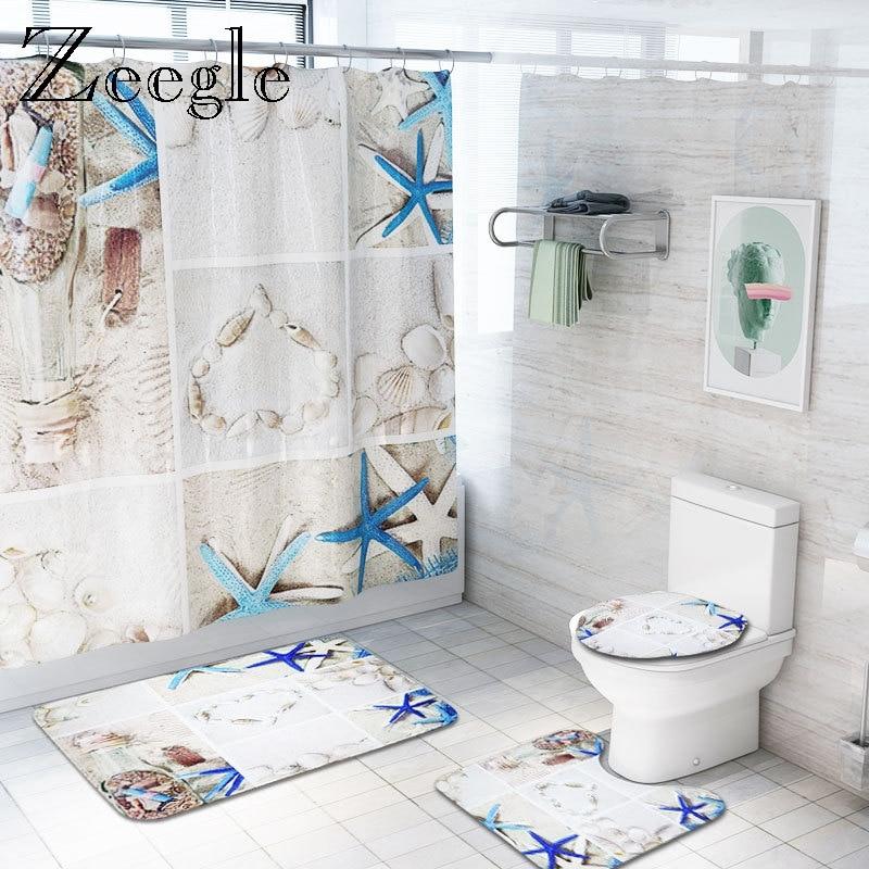 zeegle ocean world ensemble de tapis de bain rideau de douche de toilette antiderapant tapis de pied de salle de bain couvercle de toilette