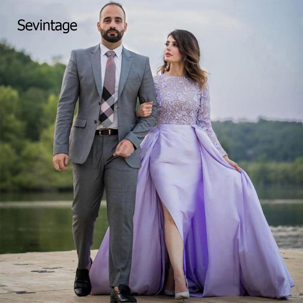 Sevintage O-Neck Lace Evening Dresses Long Sleeves Appliques Side Split Formal Prom Party Gowns with Skirts vestidos de festa
