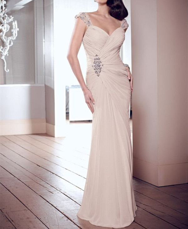 Luxurious Custom Party 2018 Crystal Dropped V-neck Elegant Chiffon Floor Length Evening Prom Gown Mother Of The Bride Dresses