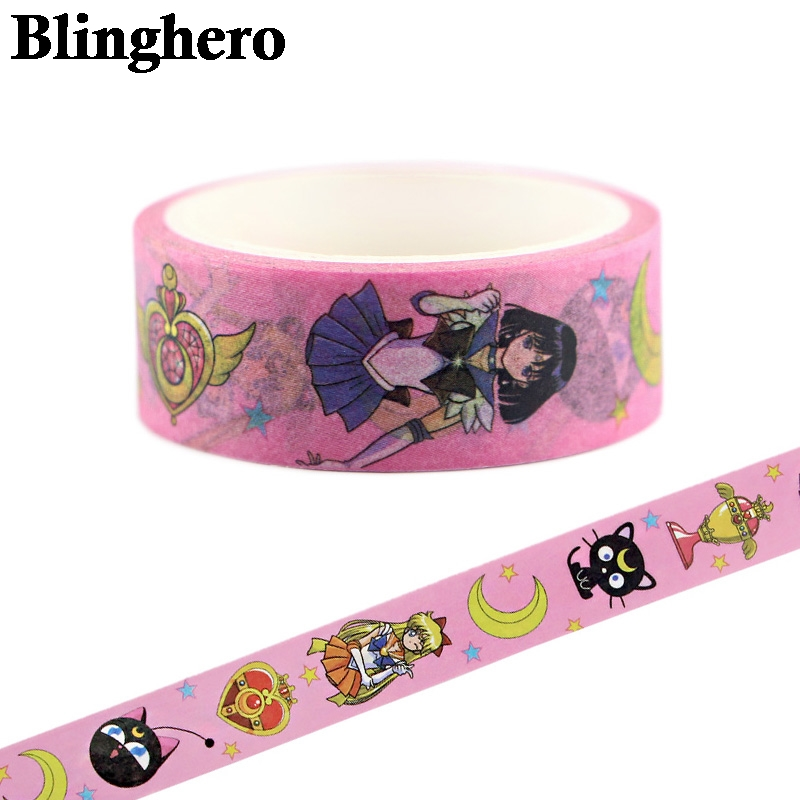 CA336 Sailor Moon Kawaii Washi Tape Adhesive Tape DIY Decoration Sticker Scrapbooking Diary Masking Tape Stationery Sticker 1pcs