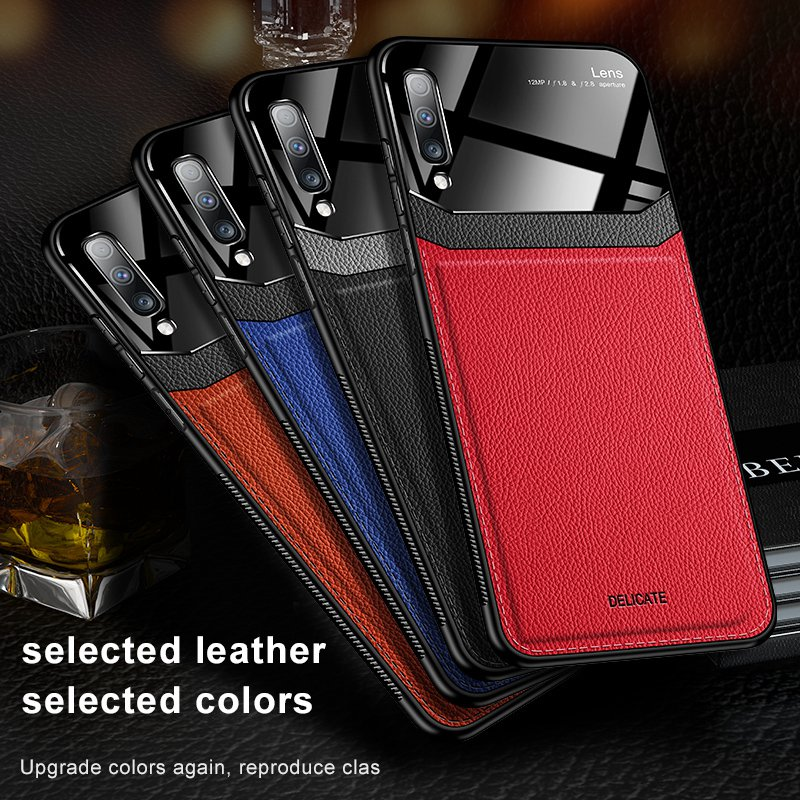 Leather <font><b>Case</b></font> For <font><b>Samsung</b></font> Galaxy A50 <font><b>70</b></font> A7 <font><b>Cases</b></font> Luxury Mirror <font><b>Glass</b></font> Shockproof Cover For <font><b>Samsung</b></font> Galaxy Note 8 9 10 S8 9 10 <font><b>Case</b></font> image