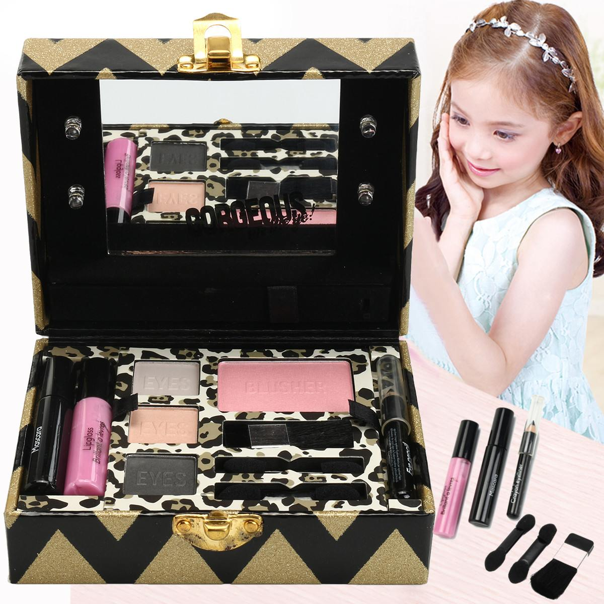 Kids Makeup Palette Set Princess Girl's Glitter Pretend Play Toy Eyeshadow Blush Lipgloss Brush Light Mirror Cosmetic Toy Kit