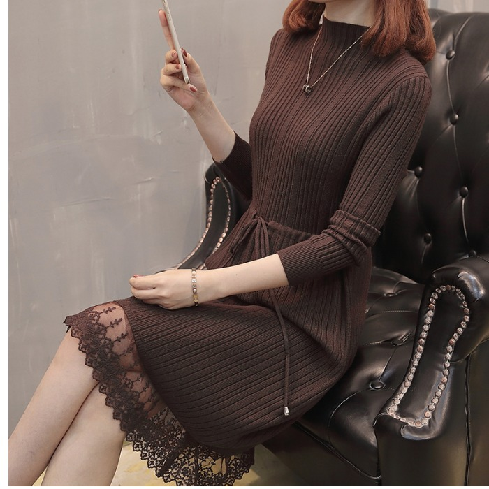 Women Warm Sweater Dress Autumn Winter Elastic Soild Long Sleeve Casual A-line Knitting Dress Female Patchwork Race Knit Dress