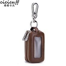 Wallet Car-Key-Holder Home-Key-Case Double-Zipper Smart Genuine-Leather Housekeeper Brand