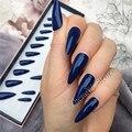 Темно-синий конический пресс на ногтях миндаль шпильки миди накладные ногти с клеем, стикер глянцевые искусственные губки искусственные на...
