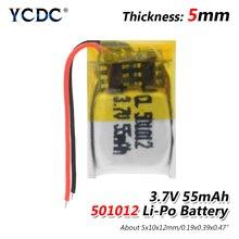 1/2/4pcs 3.7V 55 mAh 501012 Li Polymer Li ion lithium Battery For DIY 3D classes mp3 Record pen bluetooth earphone speaker