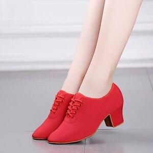 Image 5 - Женские классические туфли для латиноамериканских танцев, красные, черные кроссовки для современных танцев, обувь для джаза, бальных танцев, обувь для тренировок на каблуке 5 см