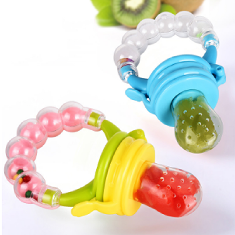 Baby Nipple Fresh Food Fruit Milk Feeding Bottles Learn Feeding Drinking Water Straw Handle Teething Pacifier with bell