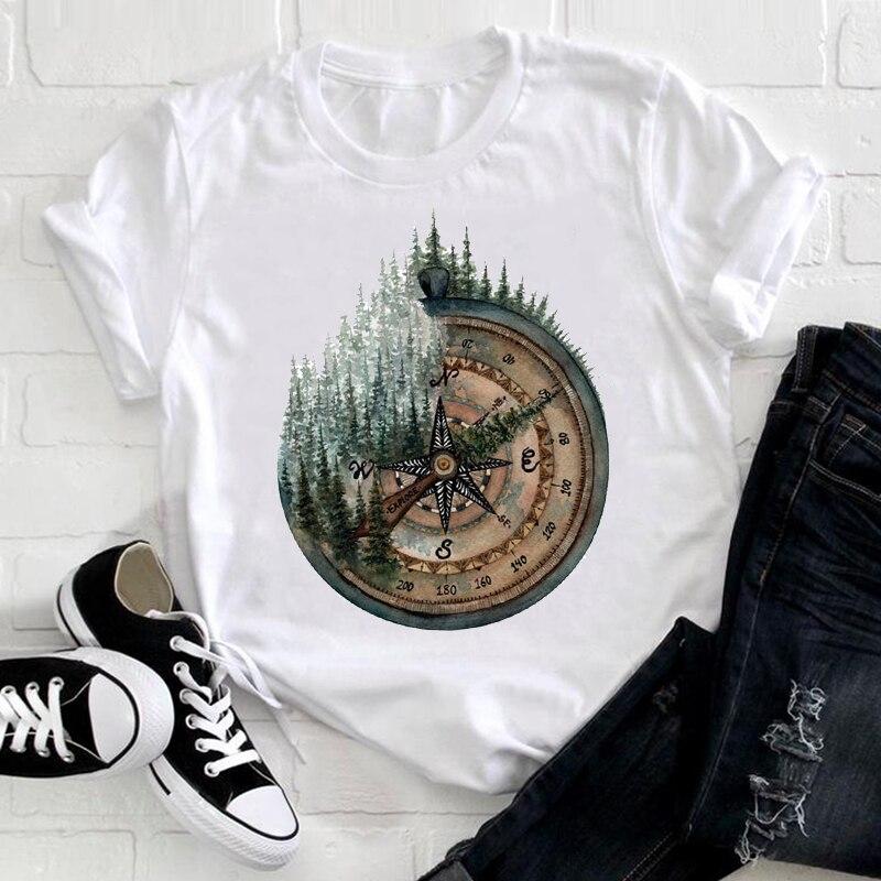 Женская одежда в винтажном стиле; Лес путешествия 90s тренд Милая летняя одежда с короткими рукавами футболка с принтом женская футболка с ри...