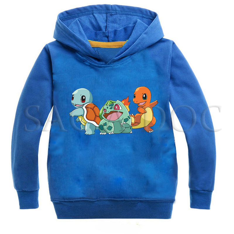 Hot Sale Spring Autumn Boys Sweatshirts Children Clothing Hooded Pokemon Coats Girls Kids Hoodies Clothes Casual Sports Pullover image