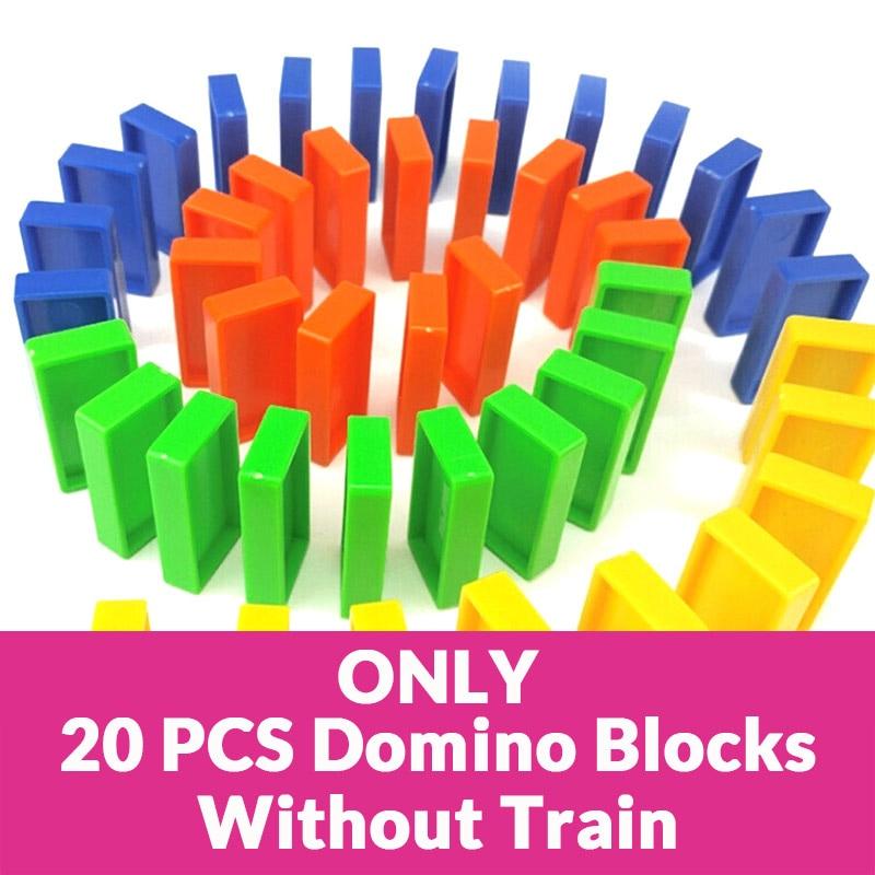 Автоматическая укладка домино кирпич Поезд Автомобиль набор звуковой светильник дети красочные пластиковые блоки домино игра игрушки набор подарок для девочек и мальчиков - Цвет: Only 20 pcs blocks