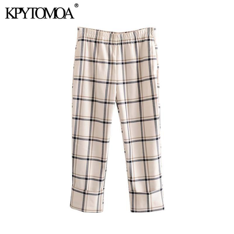 Vintage Stylish Pockets Plaid Cuffed Pants Women 2020 Fashion High Elastic Waist Female Ankle Length Trousers Pantalones Mujer