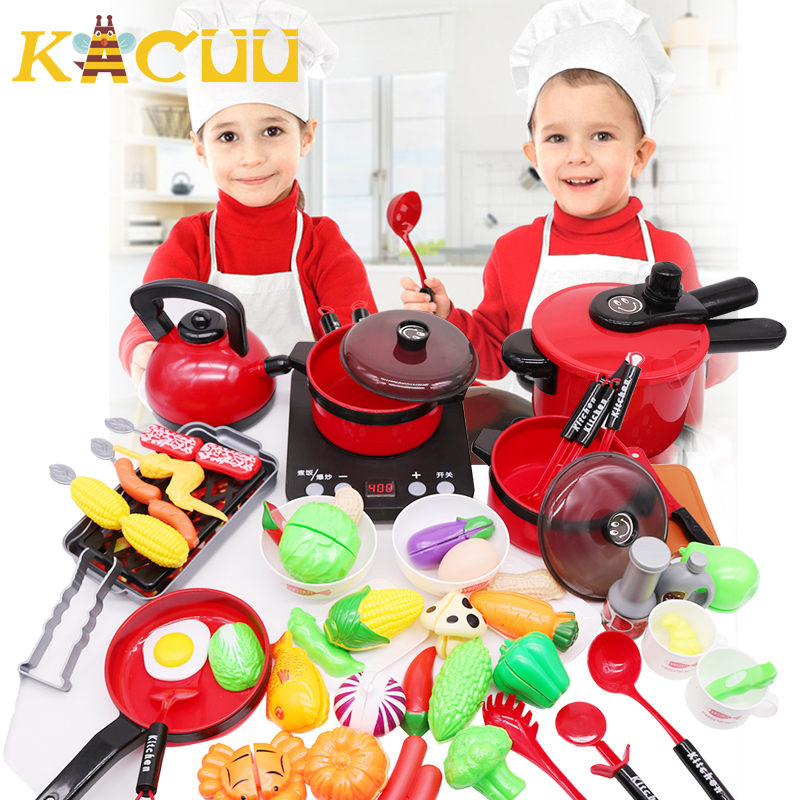 2020 Newest Hot 44PCS Toddler Girls Baby Kids Play House Toy Kitchen Utensils Cooking Pots Pans Food Dish Cookware Children Gift