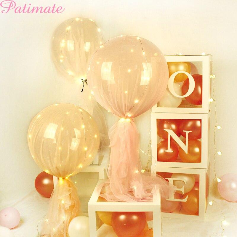 PATMATE-boîte transparente pour anniversaire d'un an, décorations pour ballons pour premier anniversaire, pour fête prénatale, pour garçon et fille, cadeaux