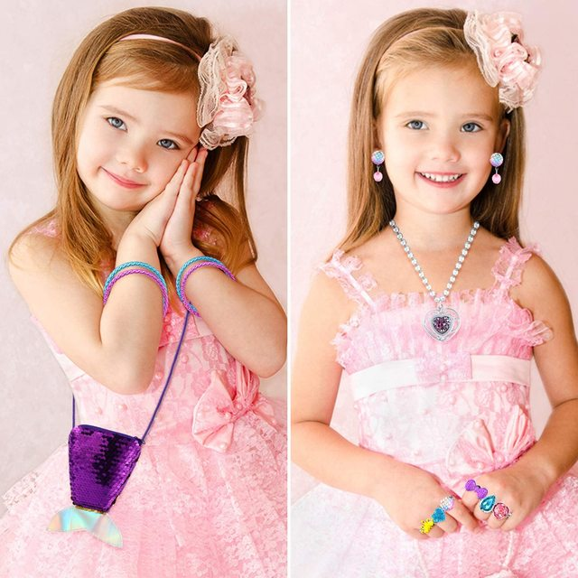 62Pcs Jewelry Accessories Princess Jewelry Pretend Dress Up Necklaces Rings Earrings Jewelry Sets for a Beautiful Girls 4
