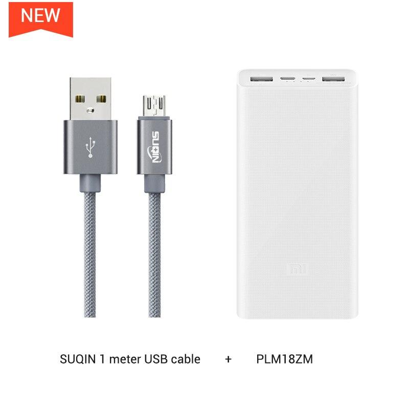 20000 мАч Mi Power Bank 2C Поддержка двусторонней Быстрая Зарядка QC3.0 для Мобильных Телефонов с двойным USB выходом - Цвет: w Android cable