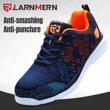 LARNMERN – Chaussures de sécurité avec bout en acier pour homme, bottes de travail, anti-écrasement, anti-perforation, réfléchissantes, style basket, tendance