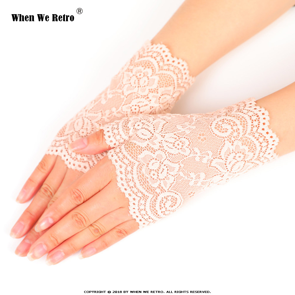 When We Retro Elegant Party Women Girls Fingerless Lace Gloves QY0471 Sunscreen Short Gloves Lace Gloves Fishnet 2019 Summer