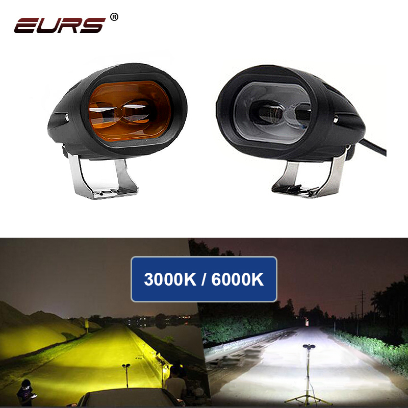 EURS 20w 12-80V 6D Motorcycle Headlight Car led Work Lights for fog light Spot Light Lamp Universal moto headlamp 3000K 6000k