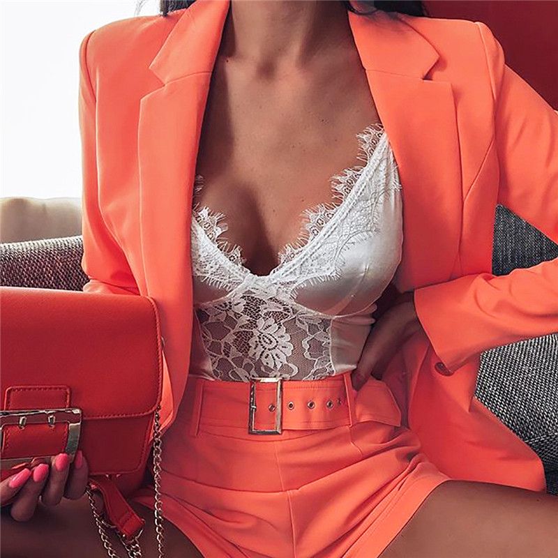 Womens Office Lady 2 Two Piece Set Sexy Solid Neon Orange Notched Collar Short Blazer Suits Jacket Pant Suit Set