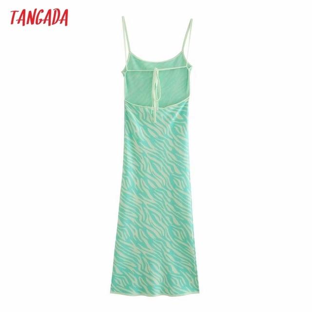 Tangada Women's Summer Dress Zebra Knit Midi Dress Strap Backless Bow 2021 Fashion Lady Dresses 3H764 6
