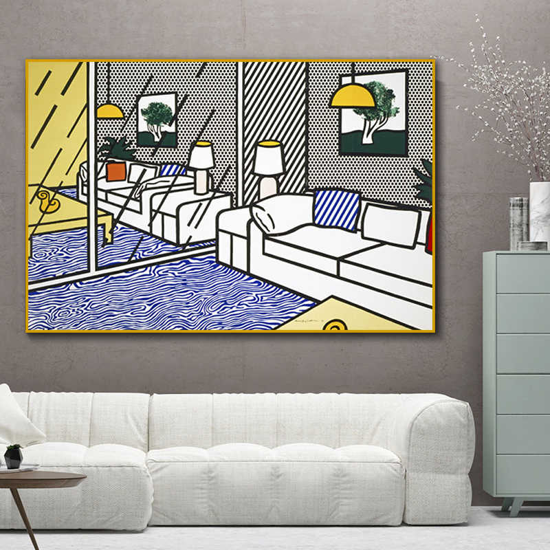 RELIABLI ART Pop Art Roy Lichtenstein Wall Art Pictures For Living Room Bedroom Modern Decorative Canvas Painting No Frame