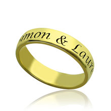 Custom Men's Ring Engraved Black Color Words Gold Plated Rings For Men Jewelry Gift Birthday Accessories(China)