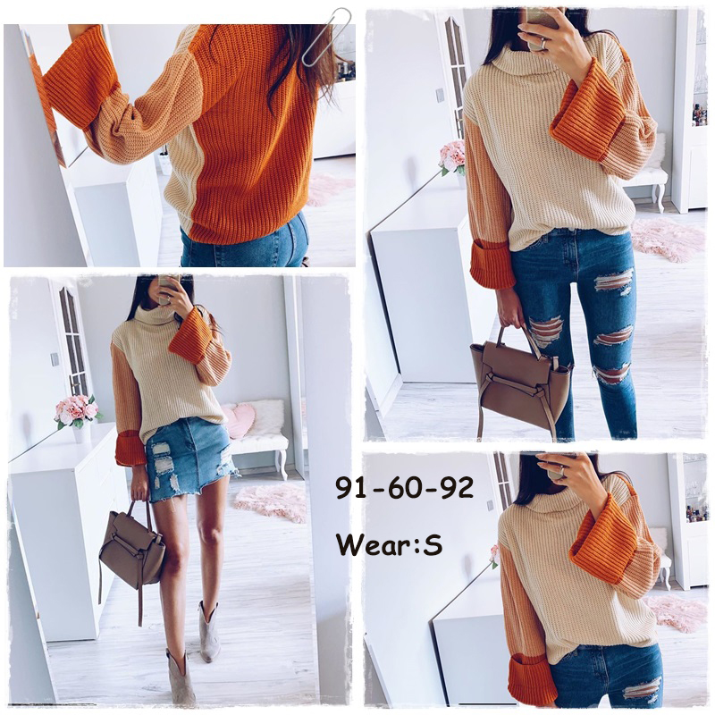 Simplee Patchwork turtleneck knitted sweaters female Casual long sleeve korean pullover jumper Women streetwear ladies sweater 4