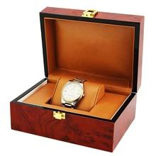 Luxury Cushion Interior Wooden Lock Clasp Solid Metal Jewelry Watch Storage Display Box Showcase Mens Gift 18.5x13.5x8.5cm