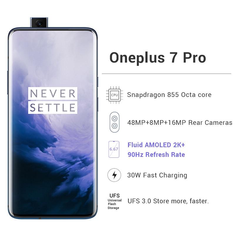 "Küresel ROM Oneplus 7 Pro cep telefonu 12GB 256GB Snapdragon 855 6.67 ""90GHz 2K ekran 48MP NFC"