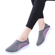 Women's Mesh Flat Shoes with Cotton Casual Walking Stripe Sneakers Loafers Soft Shoes 2019 Spring New Slip on Flat Shoes Woman(China)