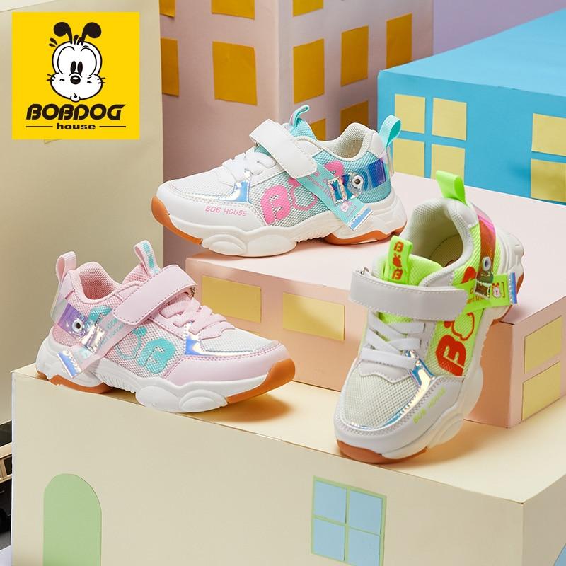 BOBDOG House Children's Shoes Korean Fashion Mesh Breathable Casual Shoes Non-slip Soft Bottom Sneakers A-BJ2154