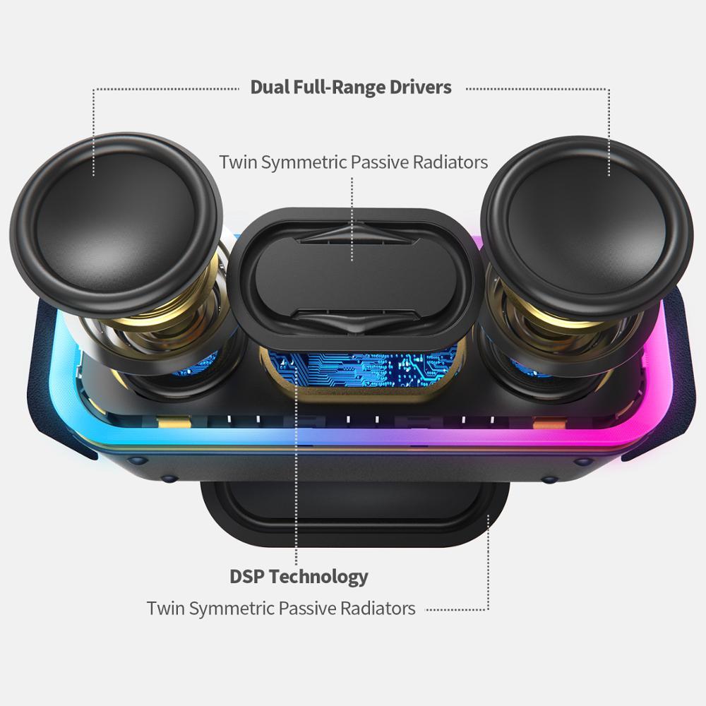DOSS Altoparlante Senza Fili di Bluetooth Cassa di Risonanza Pro + TWS 24W Impressionante Suono con Bassi Profondi Colori Misti Luci Vero Stereo suono - 2