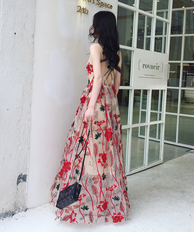 Fashion Flowers Embroidery Lace Dress 2019 Summer Sexy Sleeveless Cross Back Boho Beach Long Vacation Dresses Vestidos Robes
