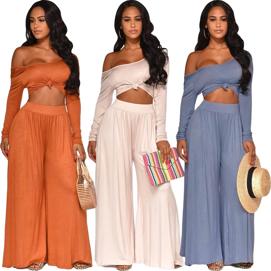 2019 Europe And The United States New Women's Fashion Sexy Strapless One-length Collar Long Sleeve Two-piece