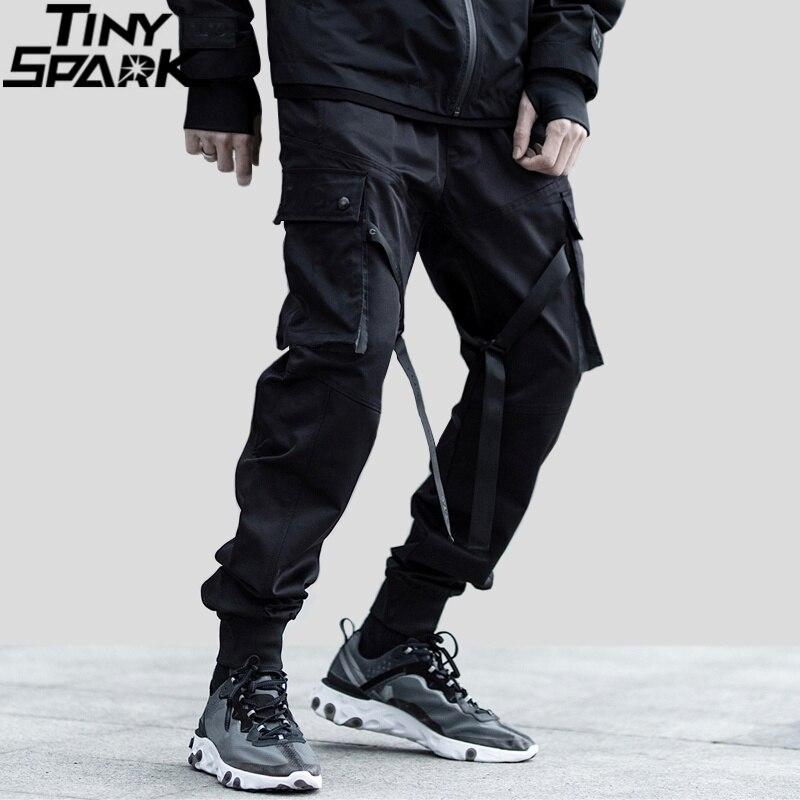2019 Hip Hop Streetwear Cargo Pants Pocket Men Harajuku Harem Pant Swag Ribbon Joggers Pants Black HipHop Sweatpants High Street