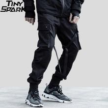 2019 hip hop streetwear carga calças de bolso dos homens harajuku harem calça swag fita joggers calças preto hiphop moletom alta rua