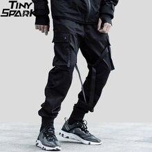 2019 hiphopowy sweter Cargo spodnie kieszeń mężczyźni Harajuku spodnie haremki Swag wstążka spodnie joggery czarny HipHop spodnie dresowe główna ulica
