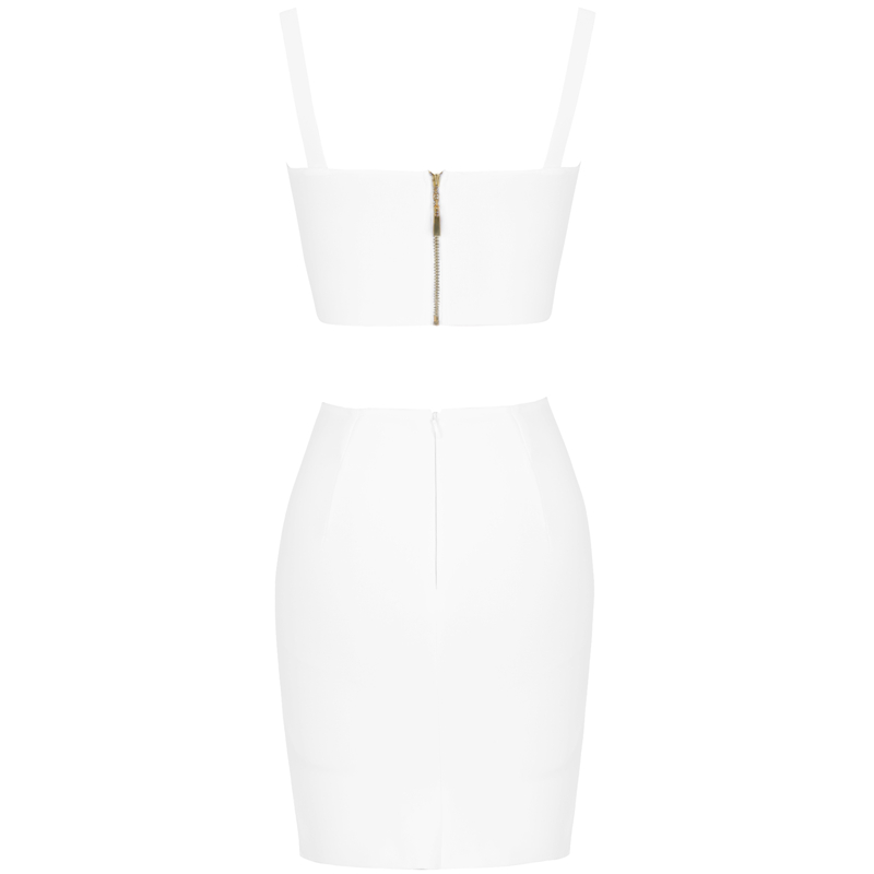 Ocstrade Summer 2 Piece Bandage Dress 2019 New Airrival Women Rayon White Bandage Dress Bodycon Mini Sexy Two Piece Set Outfit (5)
