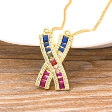 Hot Sale Rainbow Initial Necklace Gold Chain X Shape Colorful Zircon Stone Choker Necklace For Women Boho Fashion Party Jewelry