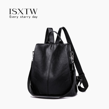 ISXTW Fashion Women Big Black Backpack Lady Satchel Travel Shopping School Girl Rucksack vintage Bag /C16