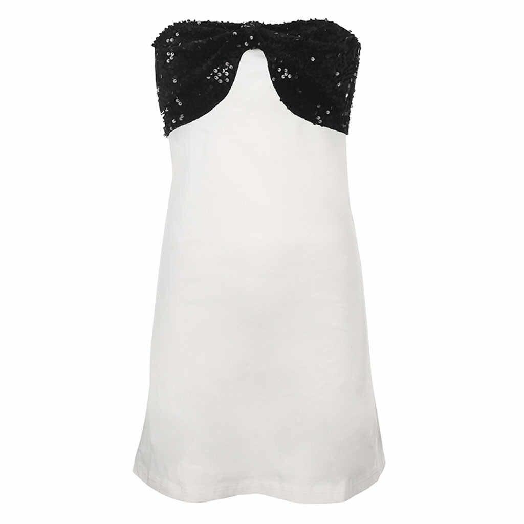 SAGACE Sexy club nocturno vestido de verano lentejuelas arco corbata tubo superior de las mujeres Mini apretado vestido sin espalda hombro de las mujeres Vestido corto vestido