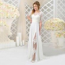Cheap White Civil Wedding Dress Floor Length Adjustable Corset Slit Lace Bridal Gowns Simple A Line 2021 Vestidos De Novia